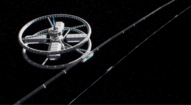 Design of space industrial necklace Orbit with toroidal EcoCosmoHouses located in it